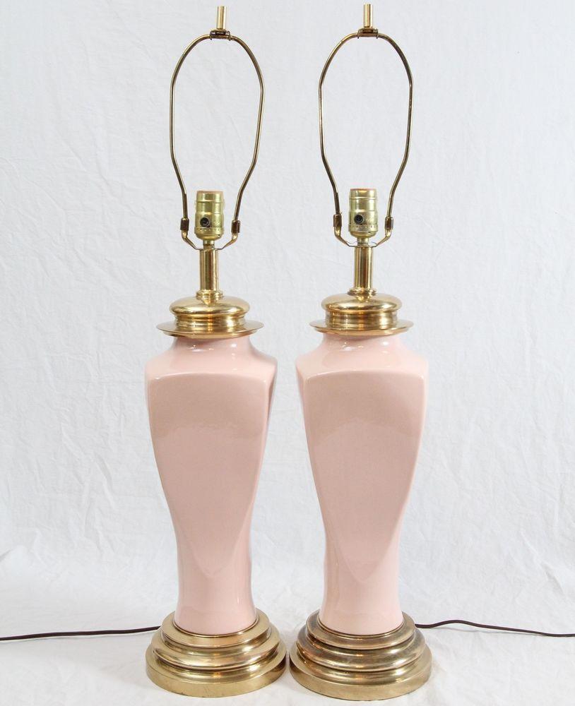 Pink Bedroom Lamps 110 Light Pink Ceramic Brass Ginger Jar Table Lamps Pair