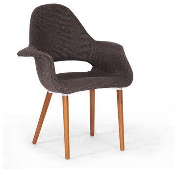 Forza Dark Brown Fabric Mid-Century Modern Arm Chair (Set of 2