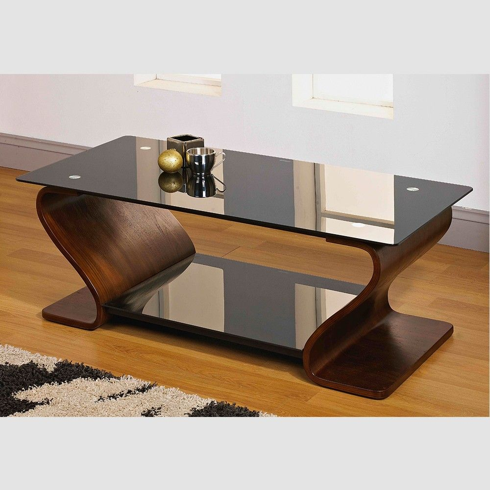 Alicia Black Tempered Glass Top And Shelf With Curved Walnut
