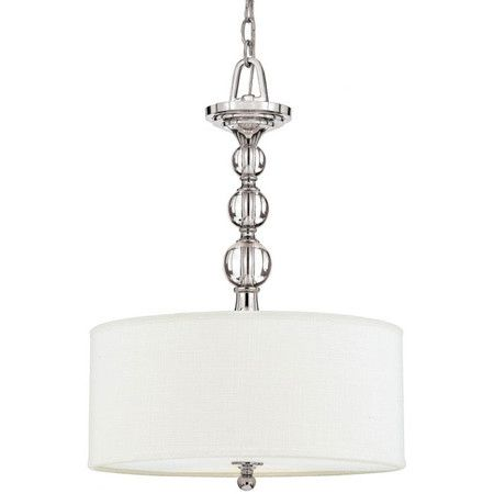 Polished Chrome Pendant With Orb Accents And A Drum Shade