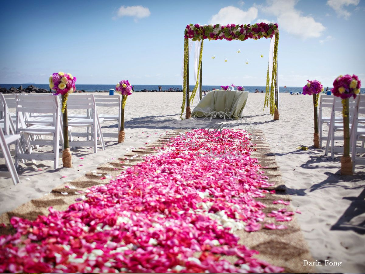 Beach Wedding Aisle With Pink Rose Petals