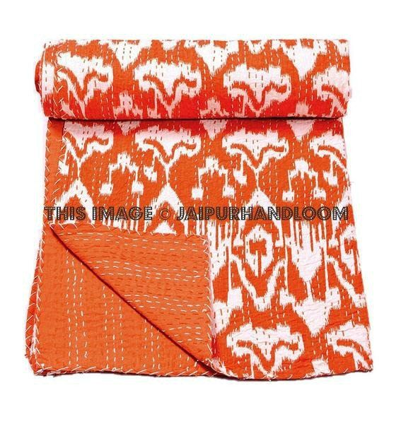 ON SALE Indian Sari Ikat kantha Quilt in Orange, Cotton twin Ikat quilt blanket throw quilted bedspread bed cover, handmade ikat quilt