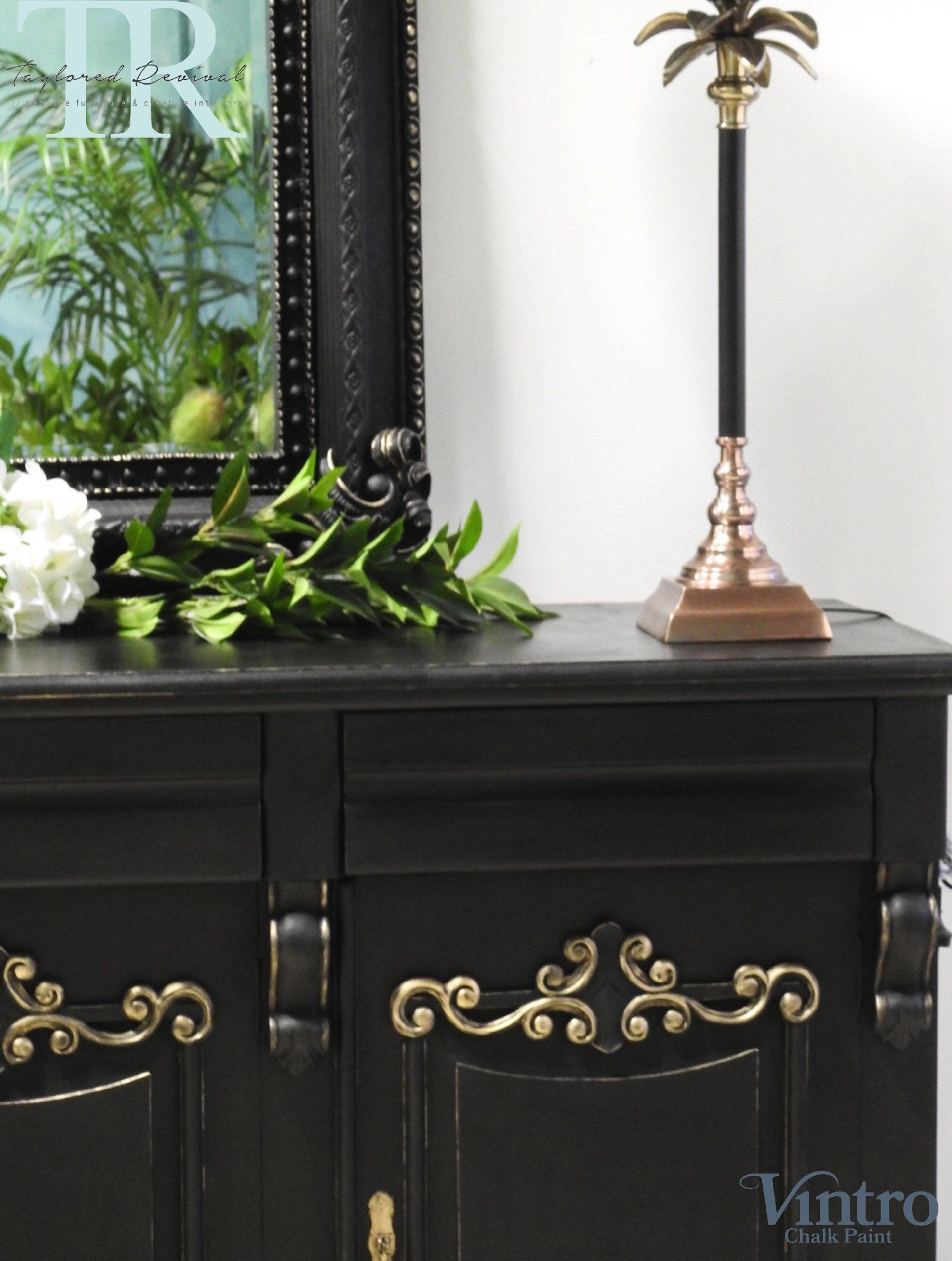 Commissioned sideboard and mirror taylored revival