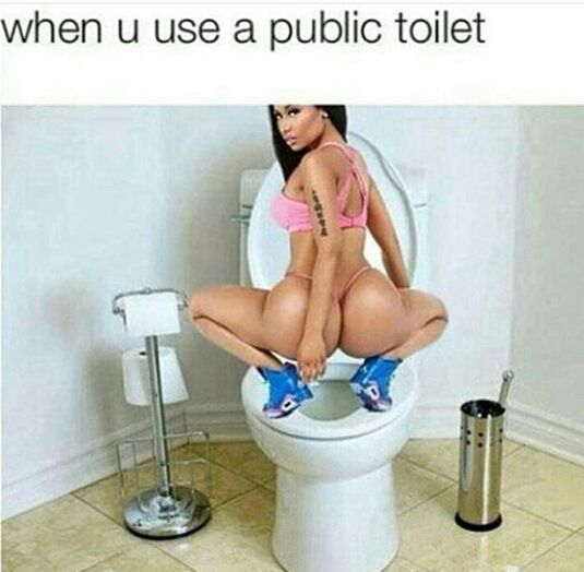 when you use a public toilet,stand on toilet lid,squat to pee, meme