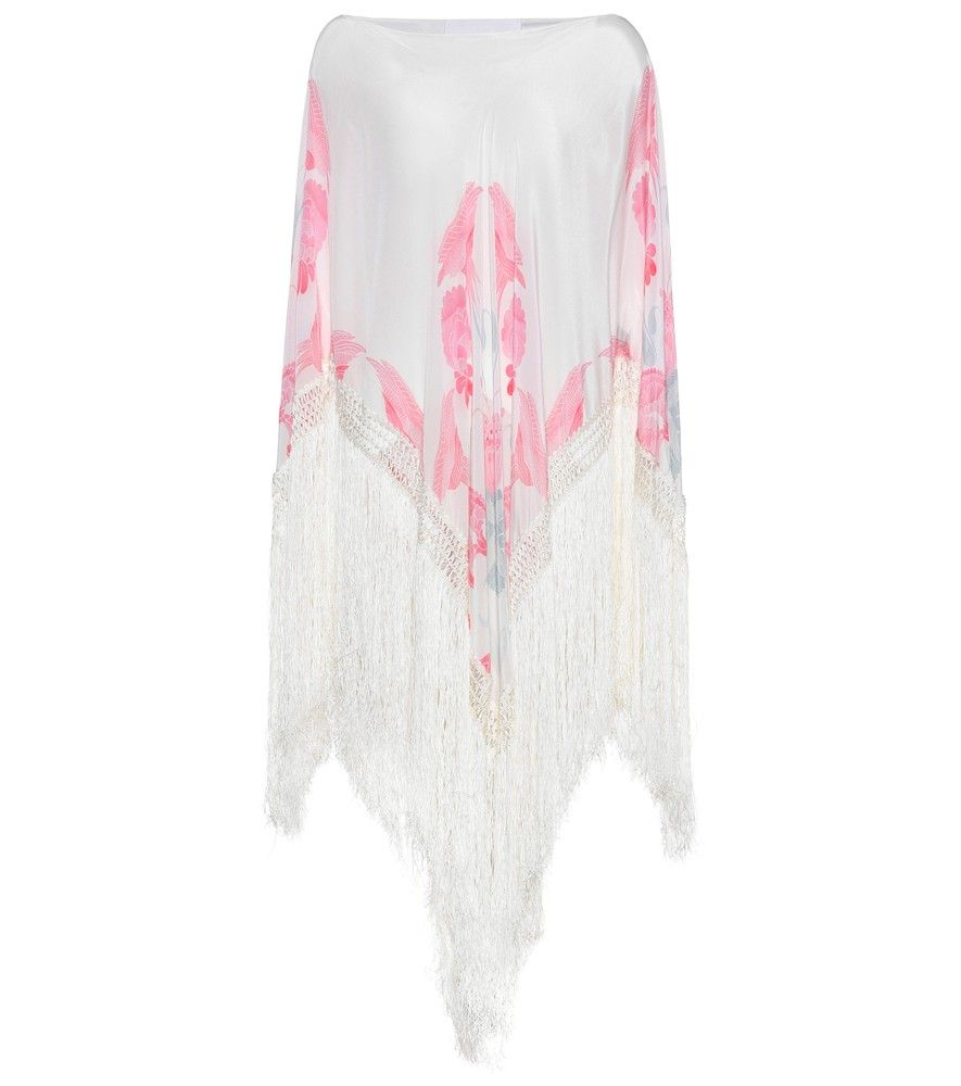 Athena Procopiou - Twilight's Love Flowers silk poncho - Finish your ensemble with glamorous flair in the Twilight's Love Flowers silk poncho from Athena Procopiou. With feminine hues of pink and white, this design is accented by a dramatic fringed edge. Wear yours with suede sandals for an instant bohemian chic vibe. seen @ www.mytheresa.com