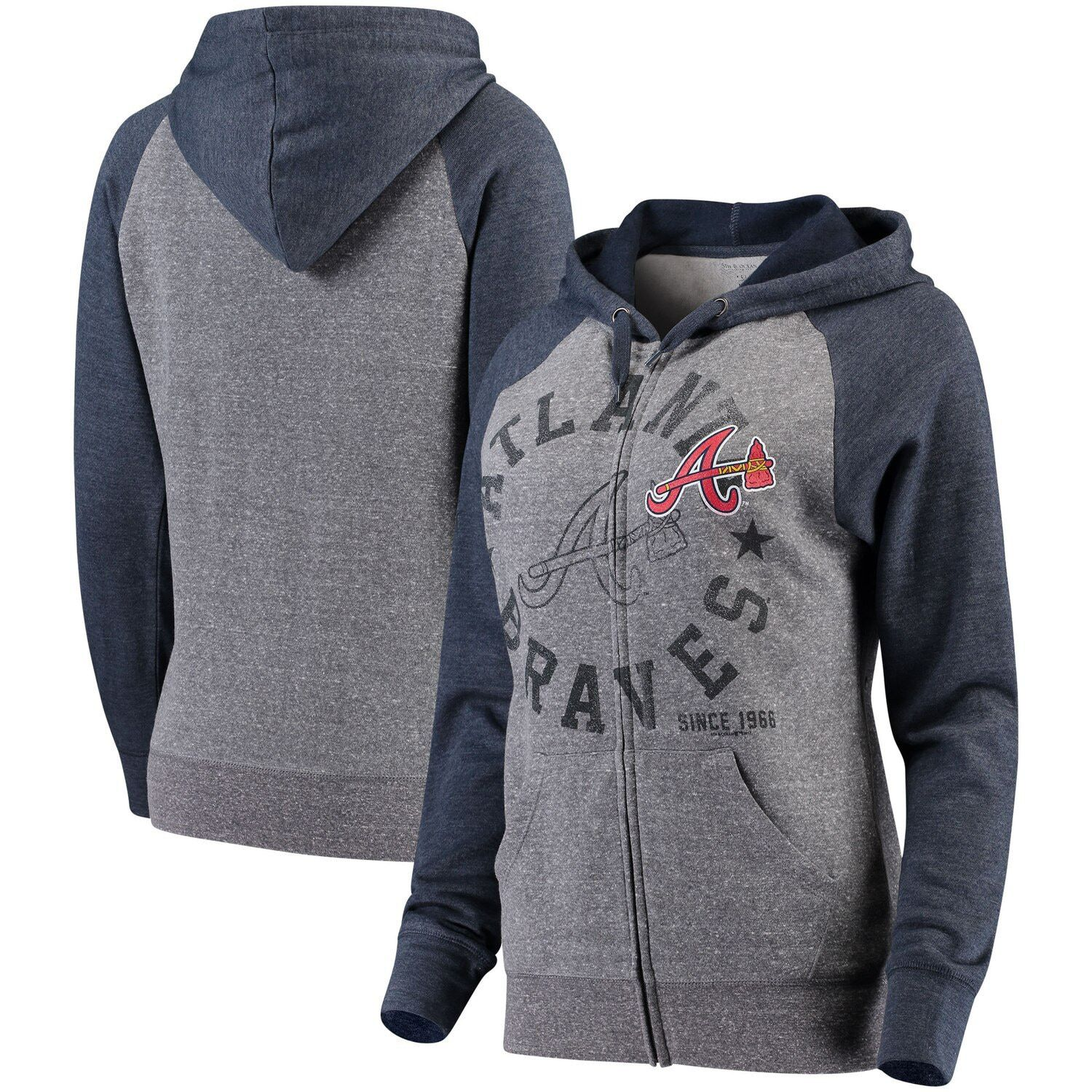 Women S 5th Ocean By New Era Heathered Gray Navy Atlanta Braves Tri Blend Raglan Fleece Full Zip Hoodie Affiliate Gr Atlanta Braves Full Zip Hoodie Hoodies