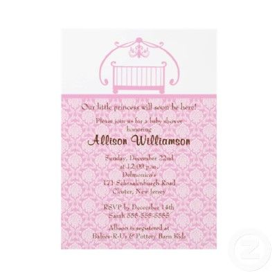 Damask Crib Girl Baby Shower Invitation by celebrateitinvites