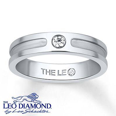 Mens Wedding Band 1 10 Carat Leo Diamond 14k White Gold