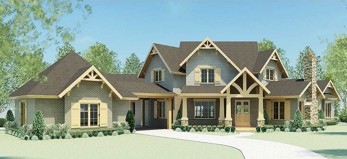 Plan 58573sv Luxury Mountain Home Plan With Home Theater And Two Staircases Mountain House Plans House Plans Craftsman House Plans