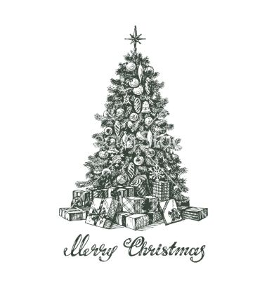 Hand drawn christmas tree and gifts vector by AvaBitter on VectorStock®