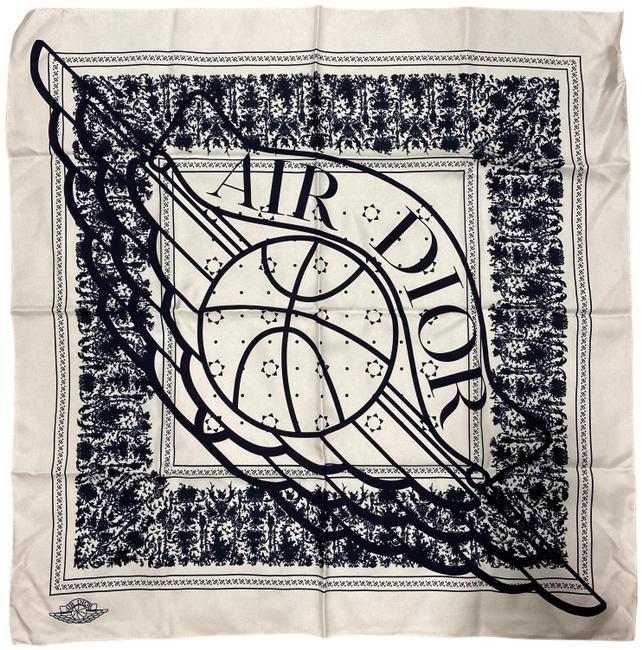 Dior White Air Jordan Wing Basketball Navy Blue Silk Bandana 22 23 Scarf Wrap In 2021 Silk Bandana Air Jordans Dior