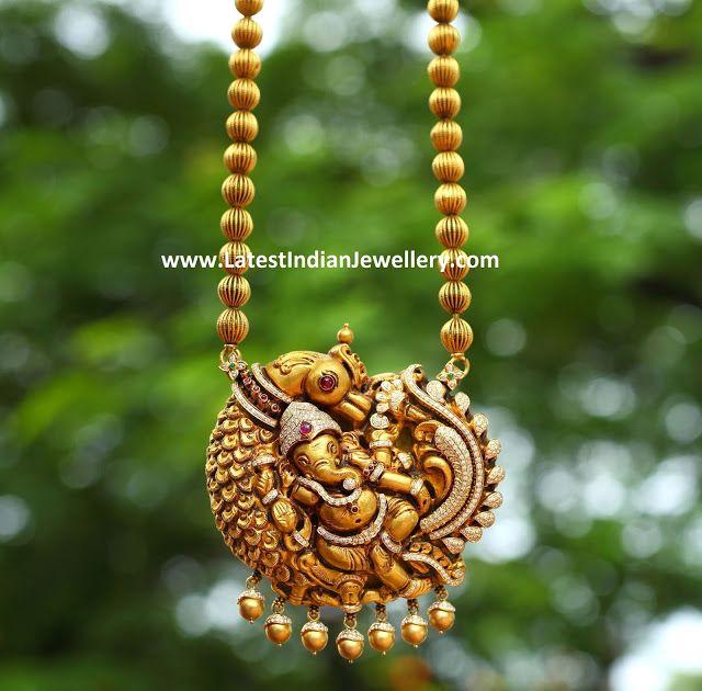 Diamond Peacock Ganesh Pendant Ganesh Pendant Gold