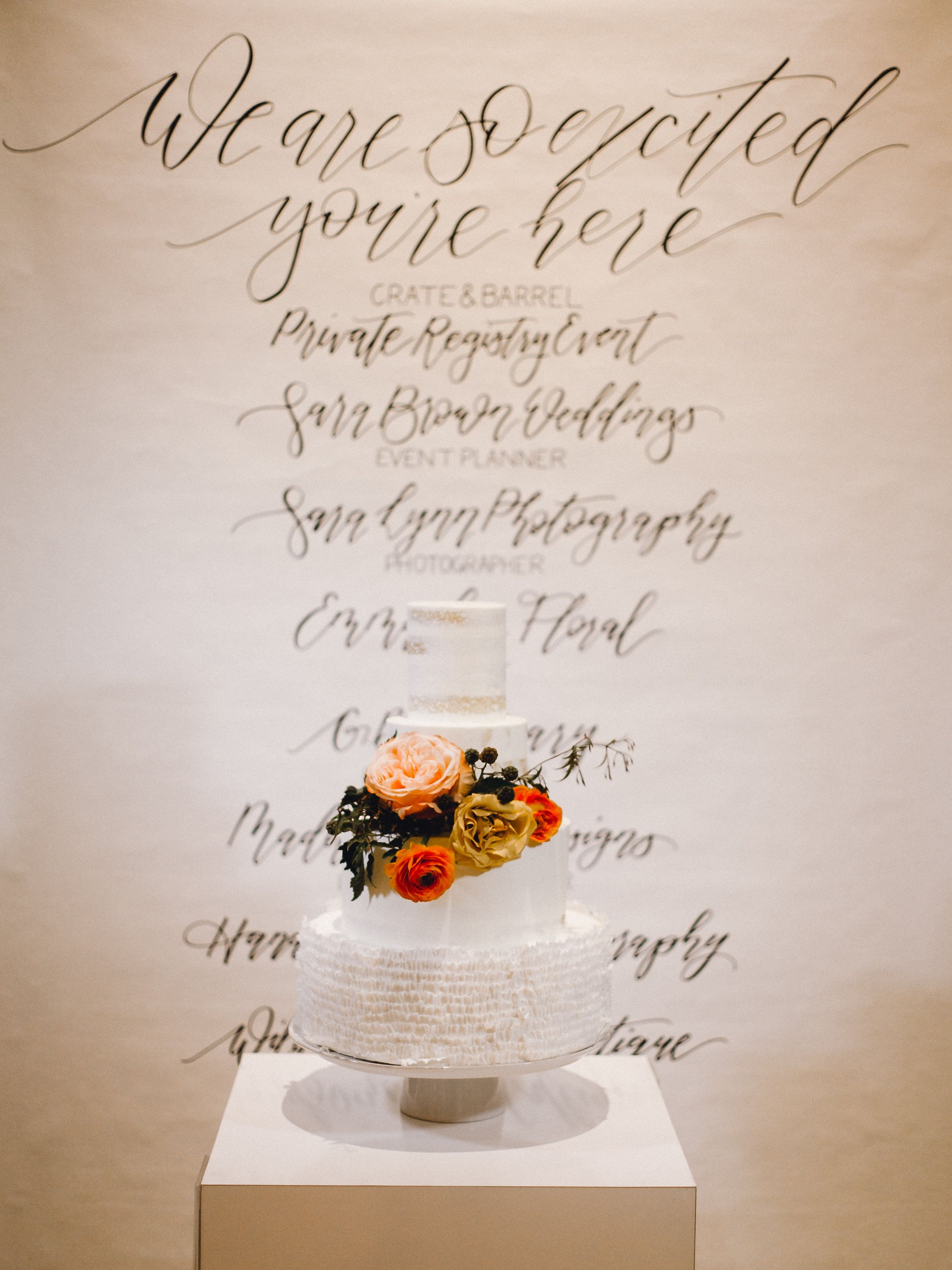 Wedding decorations stage backdrops october 2018 Custom Wedding Backdrop behind weddings cake  Crate u Barrel Event