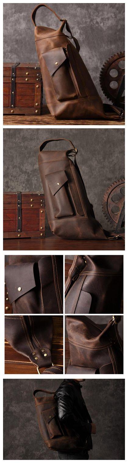 328c10538b Handmade Large Unbalance Backpack Men s Cowhide Leather Messenger Bag  Outdoor Chest Bag MT05