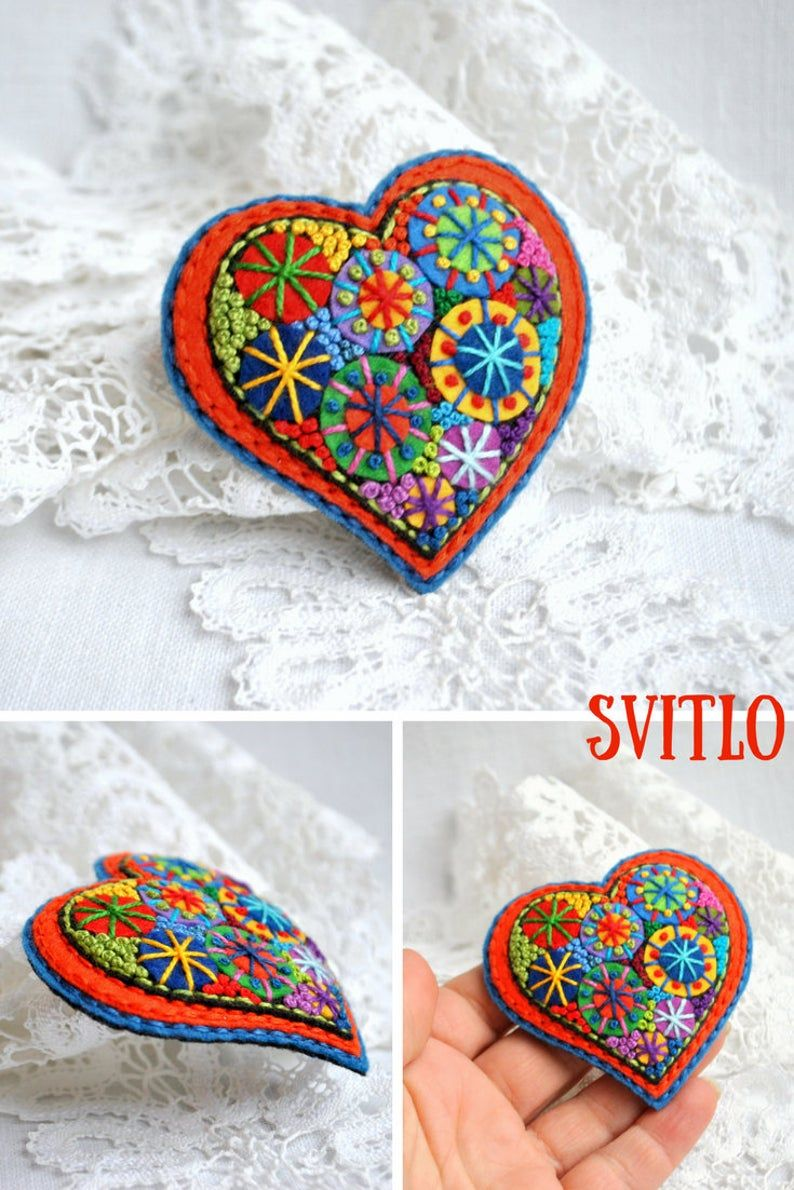 Photo of Valentines heart Gift for women Jewelry brooch Small gift for her Heart brooch felt jewelry Valentine gift ideas for coworker for girlfriend