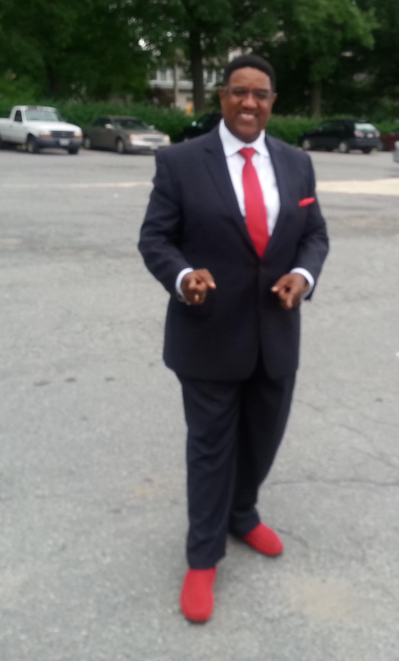 red shoes blue suit