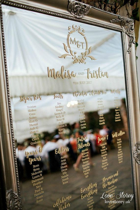 Full length mirror wedding table plan • vinyl lettering vinyl stickers • seating plan chart