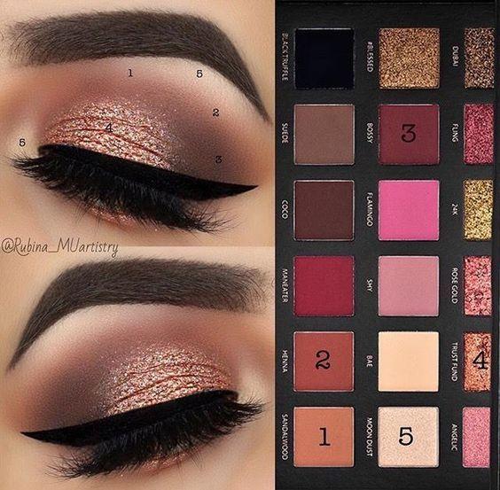 Photo of HUDA Beauty eyeshadow palette in rose gold amzn.to/2t7zprH – make up – # amznt …