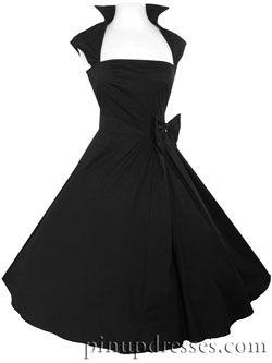 8bd96357c89 New Black Retro Rockabilly Full Skirt 50s Style Dress