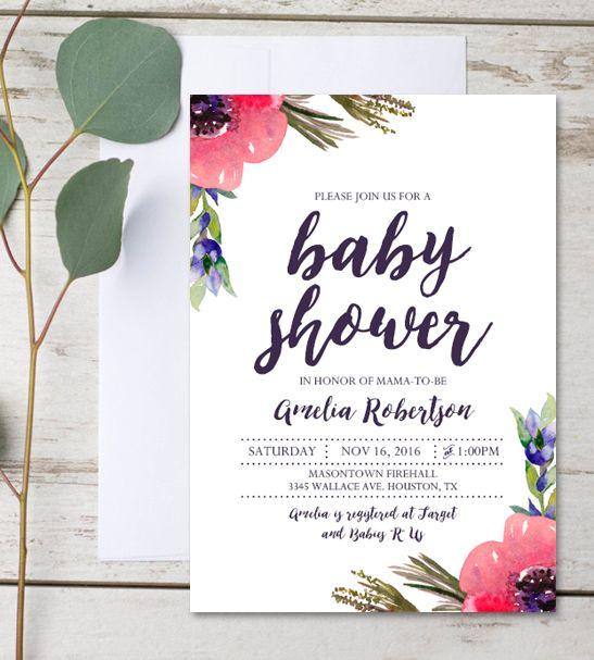 Editable Baby Shower Invitation Watercolor Flowers Pdf Printable