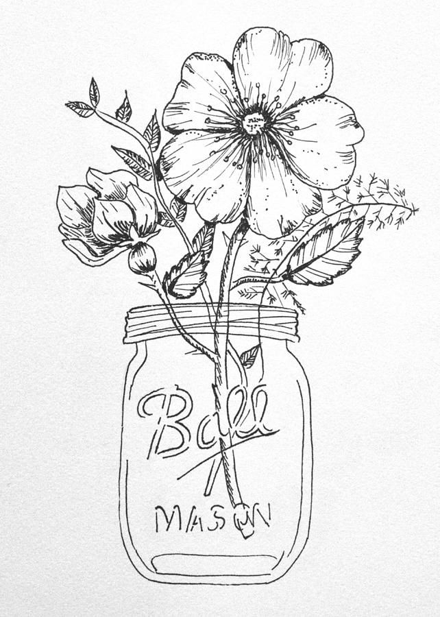 Flowers In A Mason Jar Drawing Google Search Flower Drawing