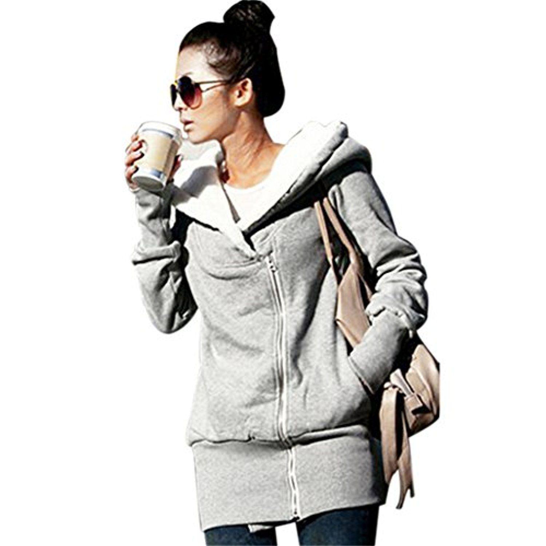 Womens Double Zip Hoodies Casual Long Sleeve Slim