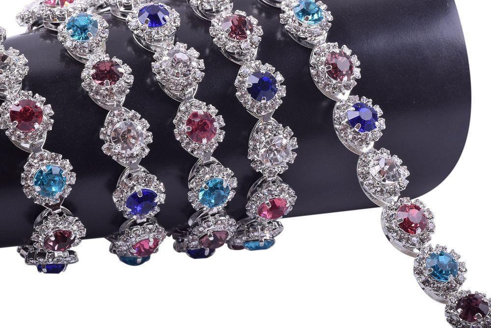 XIAOTAI Rhinestone Trims 1 Yard 2 Rows Crystal Chain Banding Diamond Inlaid White Pearl Beaded Rhinestones for Crafts Clothing and Bridal Embellishments Valentines Ideas