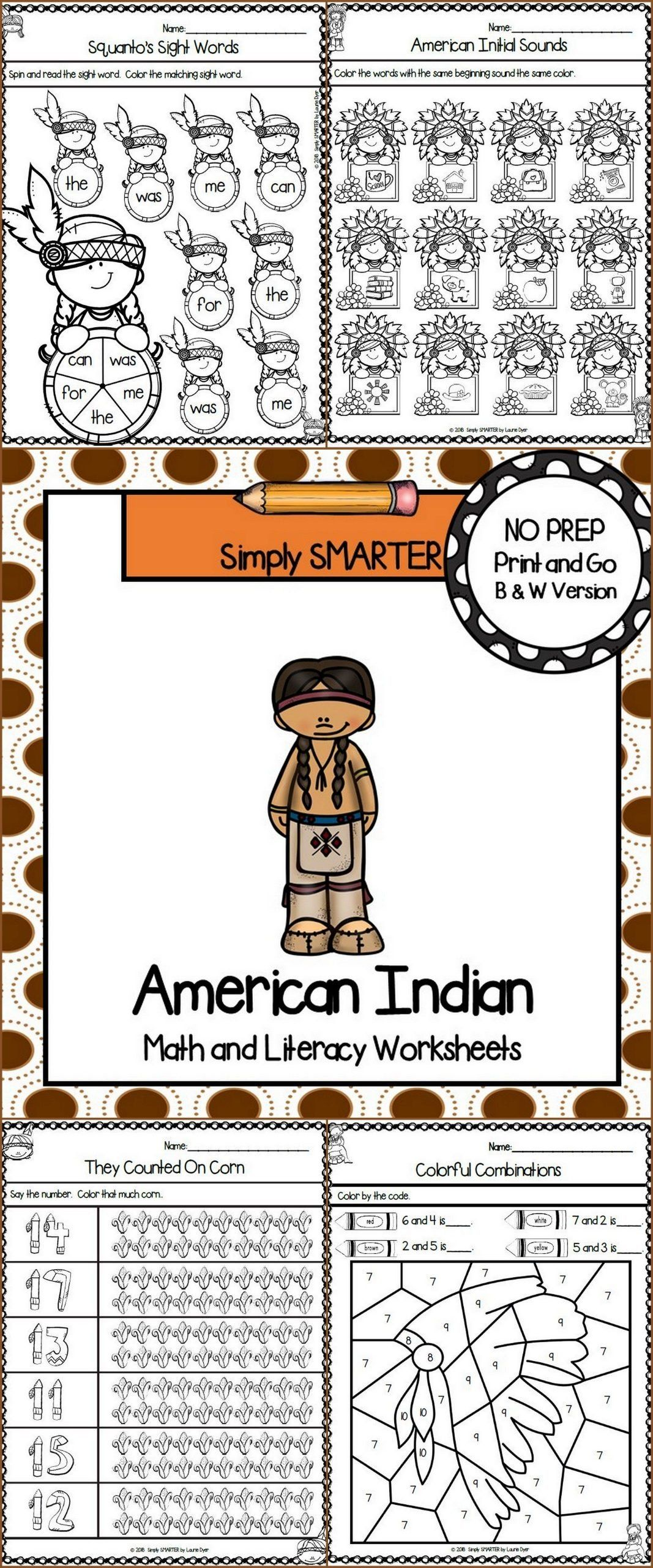 Native American Worksheets For Kindergarten American