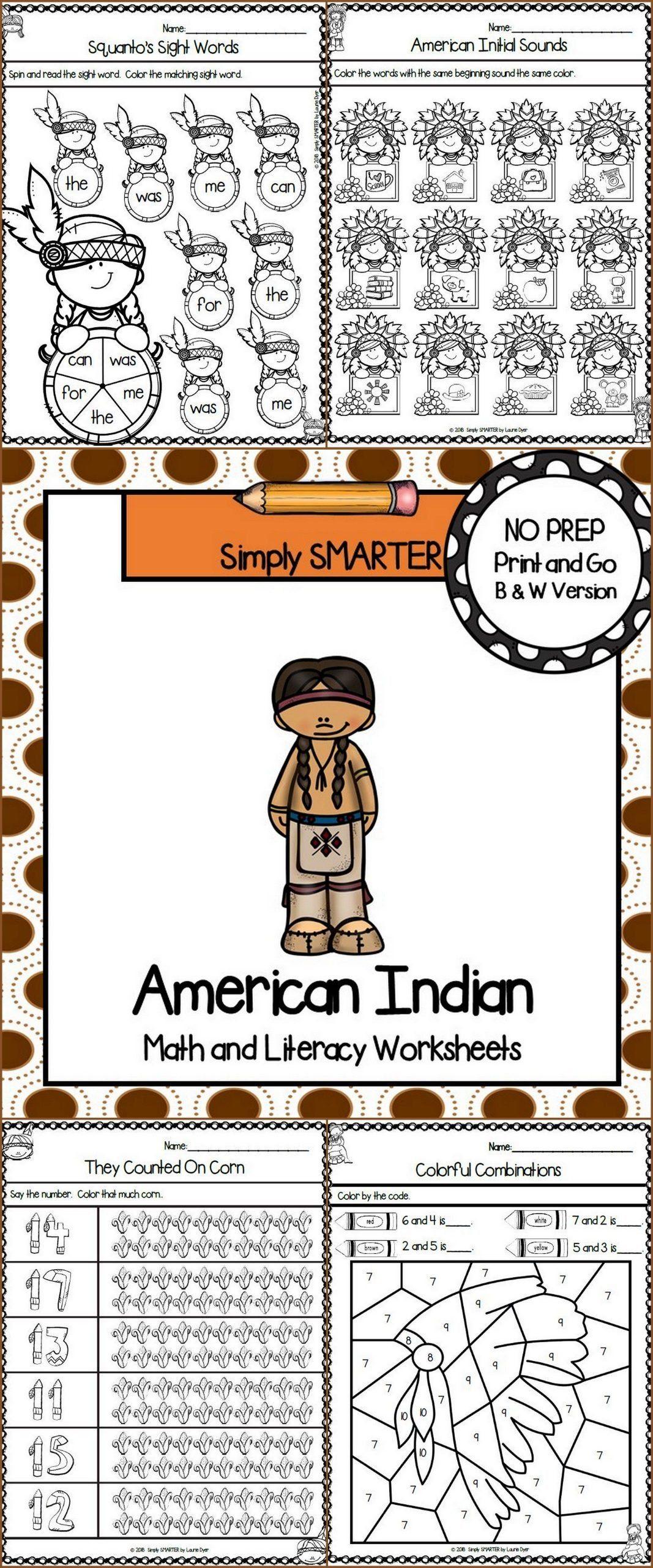 Native American Worksheets For Kindergarten American