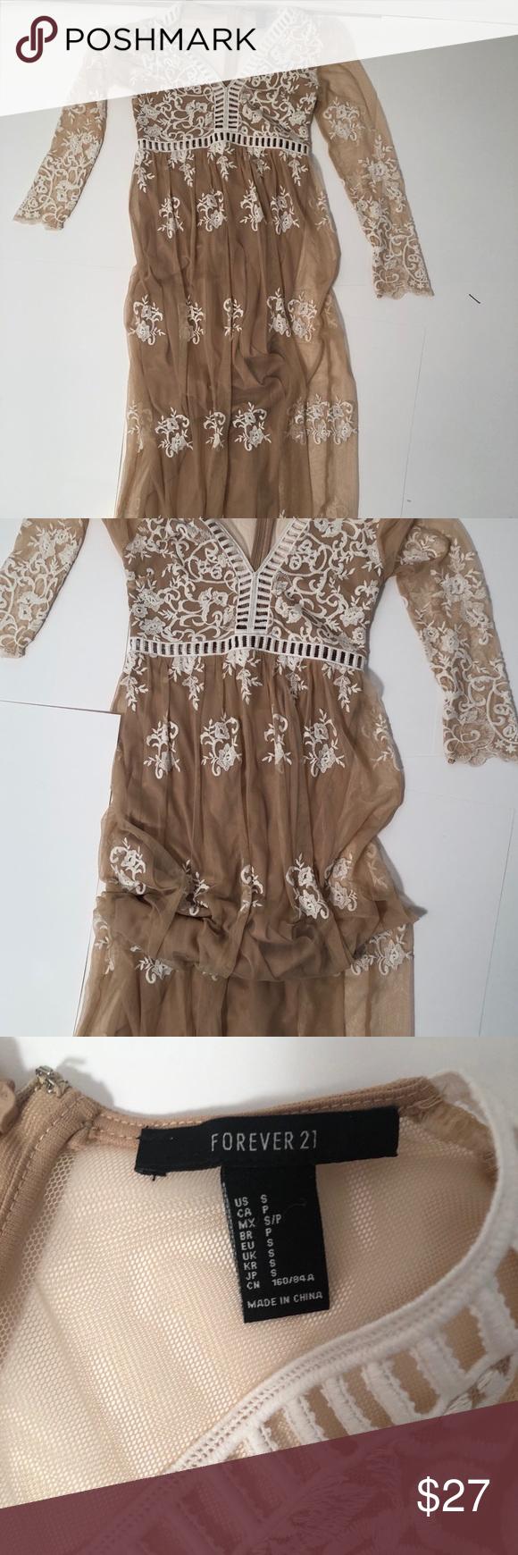 Small Forever21 White Tan Long Sleeve Maxi Dress Long Sleeve Maxi Maxi Dress With Sleeves Long Sleeve Maxi Dress [ 1740 x 580 Pixel ]