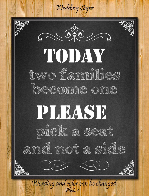 Chalkboard Wedding Sign Pick A Seat Not Side By Chalkboarddesign 7 99