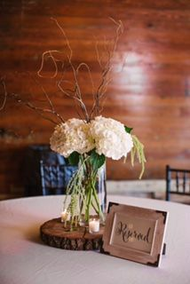 Simple And Elegant Centerpiece With White Hydrangea and Curly Willow Casiewebbdesigns