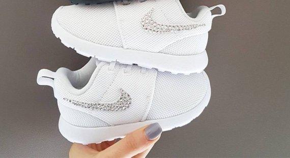 quality design 22071 dd52a Swarovski Crystal Baby Nike Roshe Kicks Toddler Bling Sneakers Wedding  Flower Girls Shoes