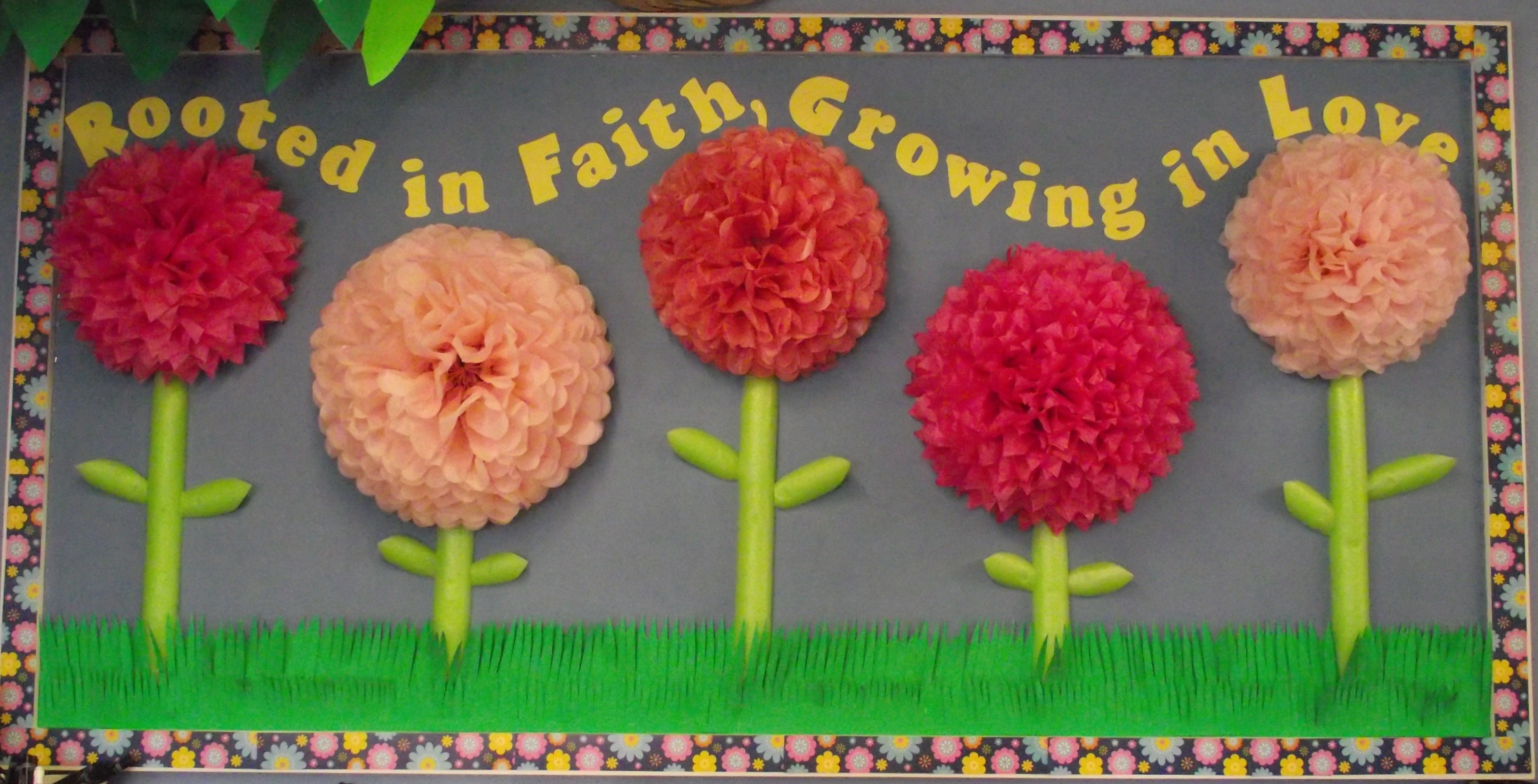 Rooted In Faith Growing In Love Tissue Paper Flowers With Pool