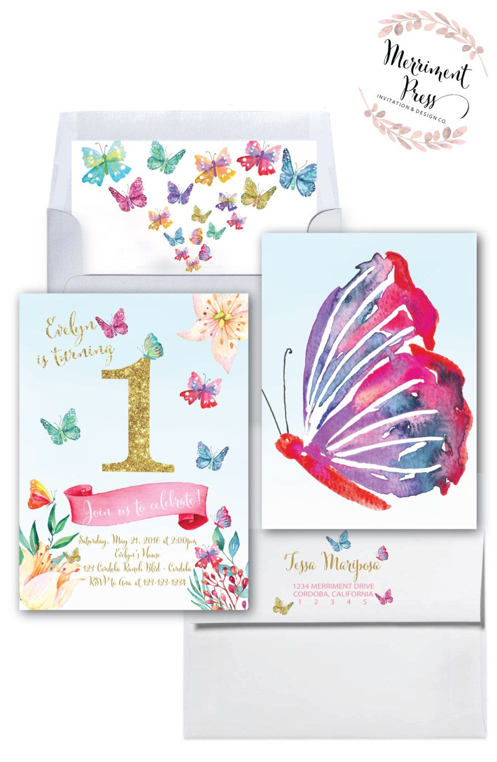 Butterfly First Birthday Invitation Butterflies Gold Glitter – Butterfly Invitations Birthday