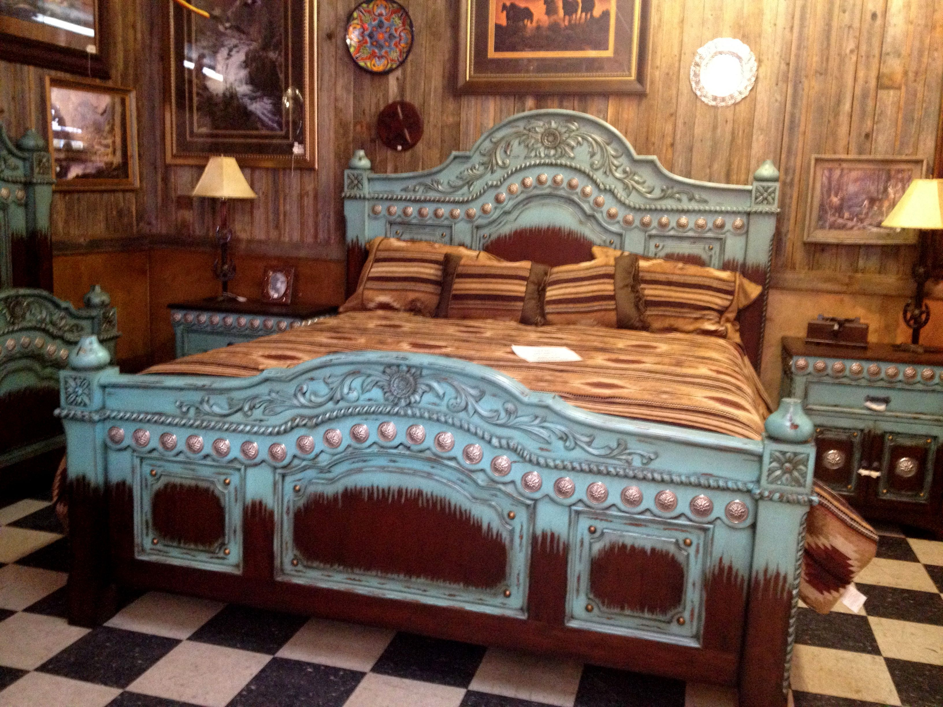 Best Turquoise And Brown Bed With Images Rustic Bedroom 400 x 300