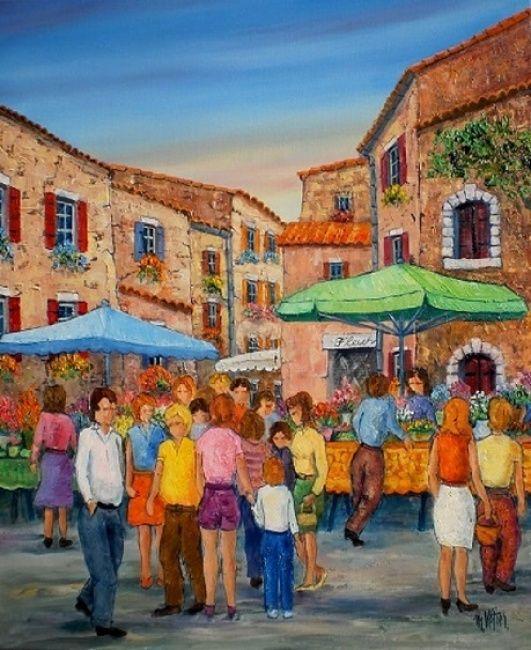 Le Marche Aux Fleurs En Provence Flower Market In Provence Oil