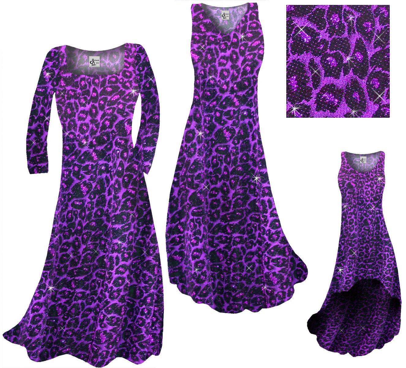 SALE! Customizable Purple Leopard Glittery Print Plus Size A-Line Dress 1x