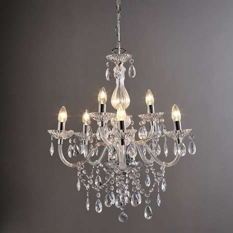 Dunelm Maisie 8 Light Glass Chandelier Chandeliers Arms and Glass
