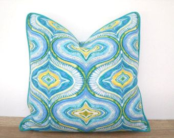 Turquoise Outdoor Pillow Cover 18x18 Aqua And Pink Outdoor Cushion