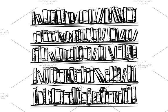 Bookshelves sketch. Hand drawn interior elements. Doodles