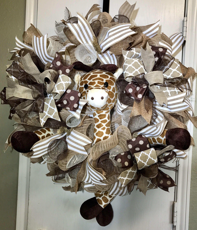 giraffe wreath baby wreath giraffe baby gift baby shower wreath