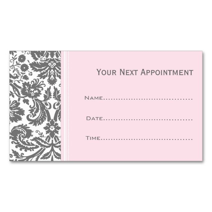 Pink grey damask salon appointment cards damasks business cards card templates accmission Gallery