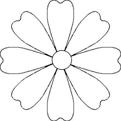 Flower Daisy 8 Petal Template Flower Petal Template Flower Templates Printable Felt Flower Template