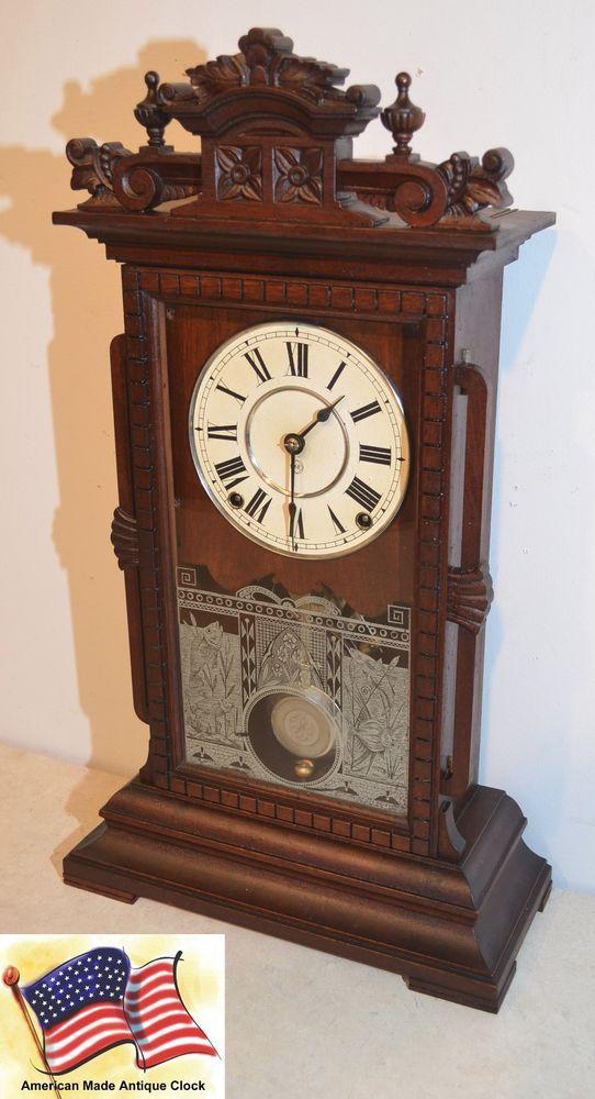 Seth thomas utica - 1885 fine city series antique cabinet clock in ...