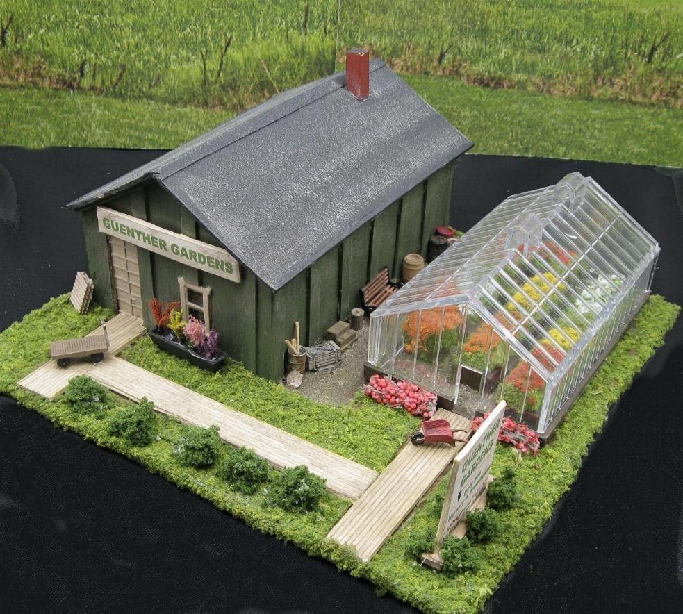 HO scale building Model Train Layout Modern Engine Shed Garage Train Plant House