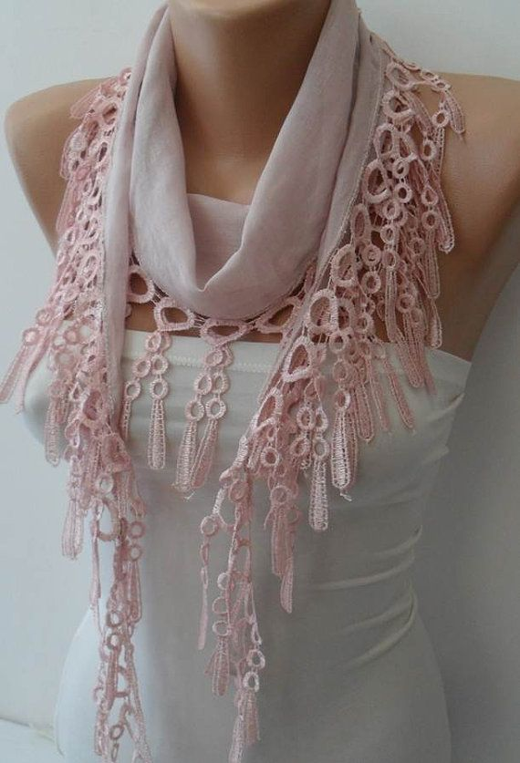 Pale Pink   Lightweight Summer Scarf with Trim Edge by SwedishShop, $12.90