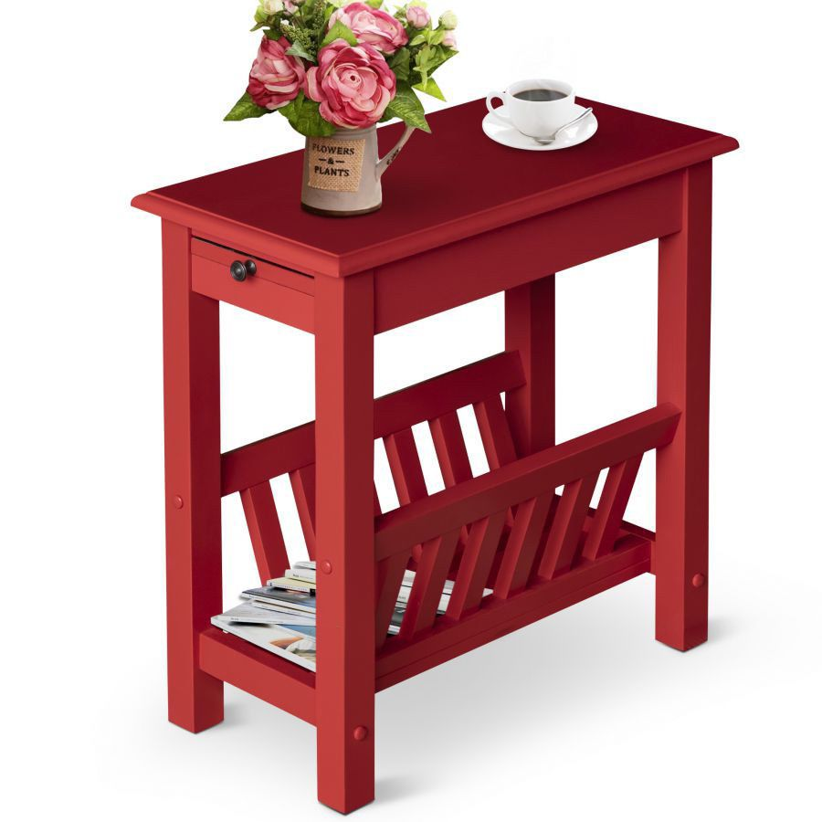 Rustic Wood Side Table W Tray Bottom Shelf Living Room