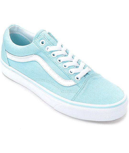 Vans Old Skool Crystal Blue White Canvas Shoes Vans Shoes White Canvas Shoes Vans Old Skool