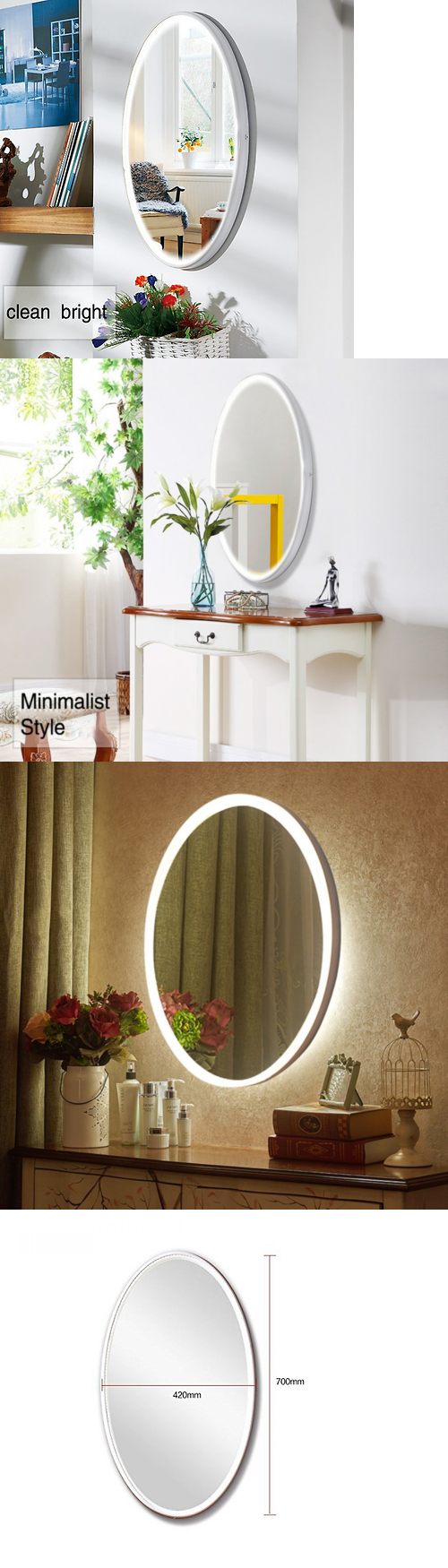 Mirrors oval led wall mirrors lighted vanity bedroom mirror